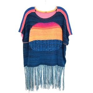 Free People sunset Fringe sweater poncho pullover